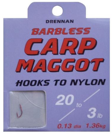 Drennan Silverfish Maggot Barbless Hooks To Nylon